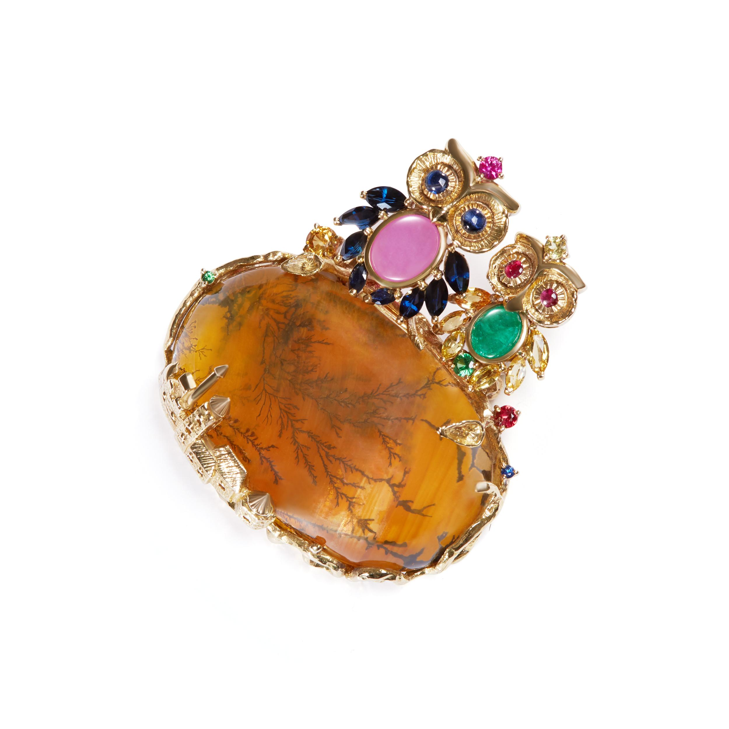 Gemstone Brooch decorated with Owl-shaped