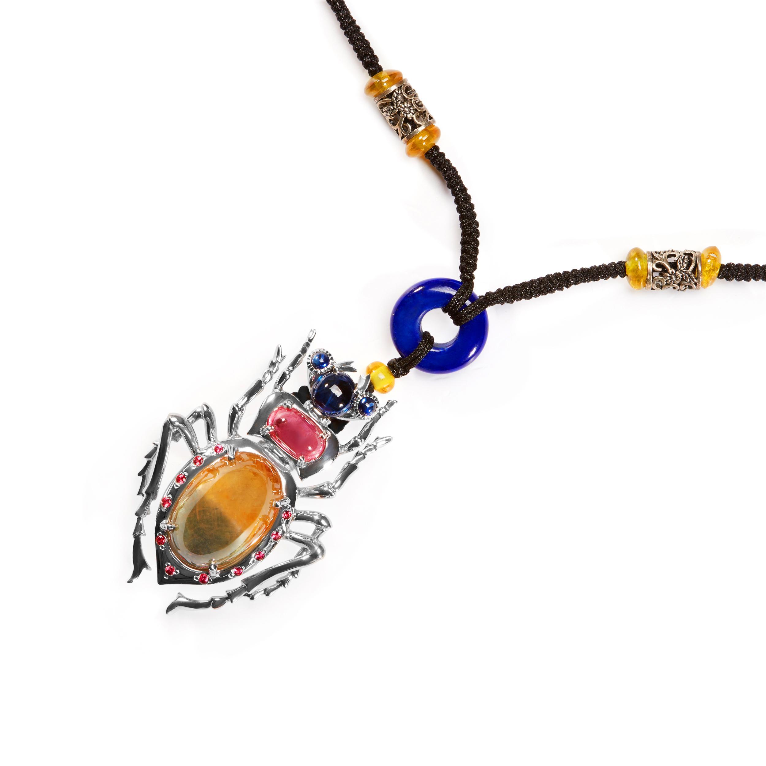 Spider-shaped gemstone Pendant