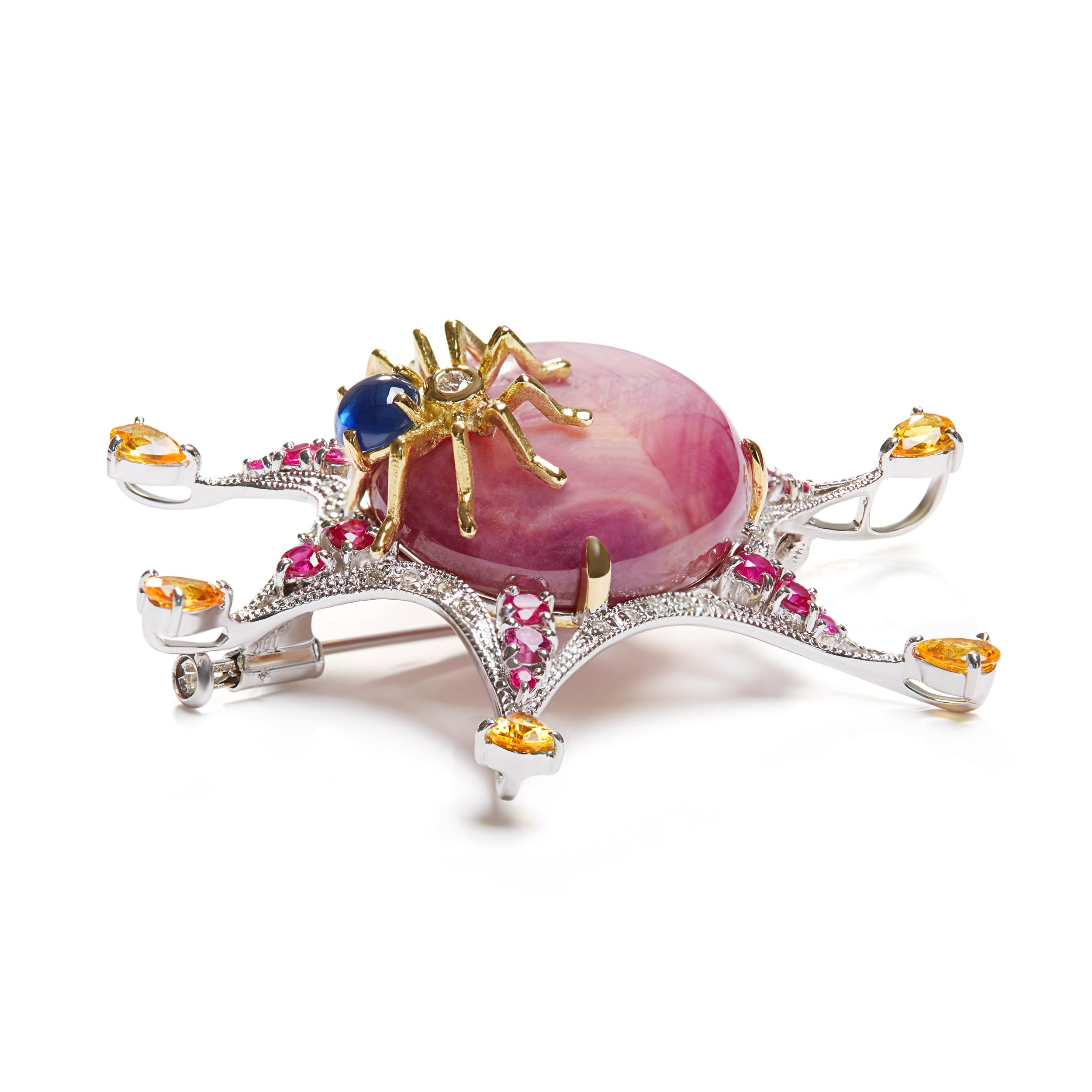 Gemstone Brooch decorated with Spider-shaped
