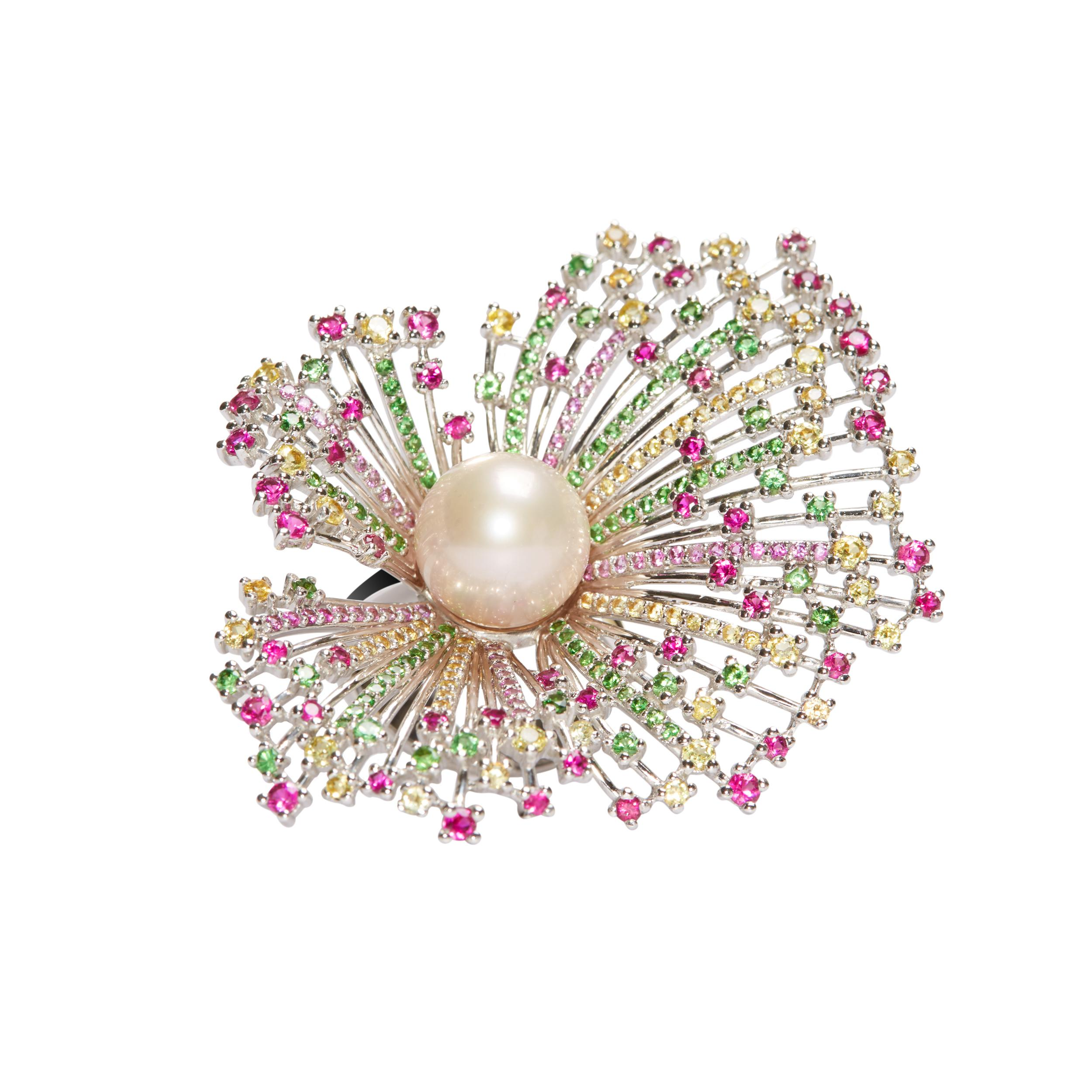 Pearl Ring decorated with gemstone Floral branch